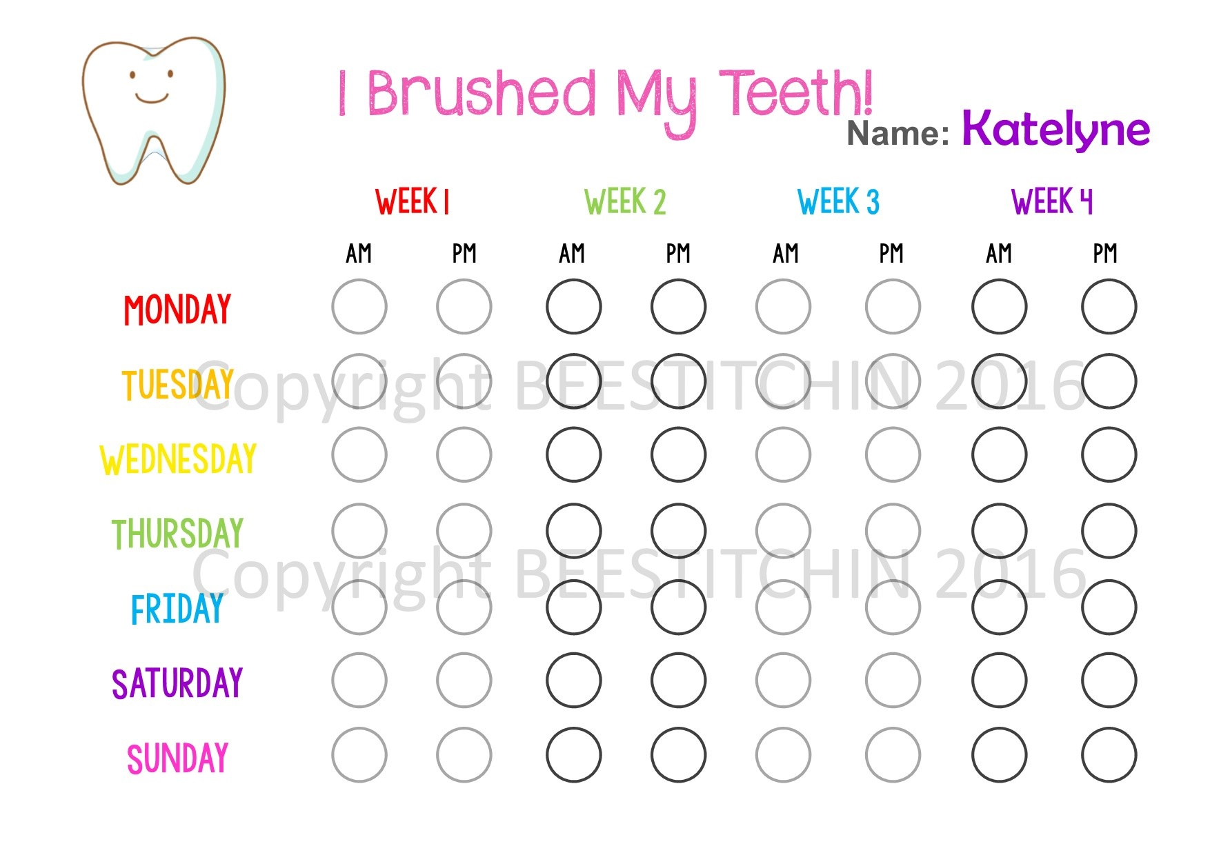 I brushed my teeth tooth brushing chart 4 colours printable