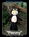 4x4 Cozy Kidz Penguin Doll - semi ITH
