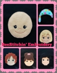 Hair Style Felt Doll and Accessories 4x4 5x7