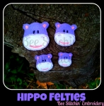 Hippo Head Felties 4 sizes