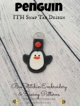 Penguin ITH Snap Tab - 4x4 Embroidery Design