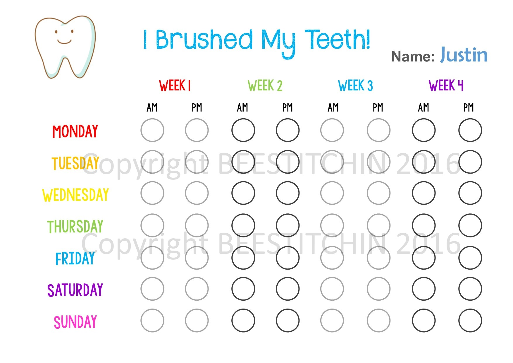 photograph relating to Printable Tooth Brushing Charts named I Brushed My Enamel - Enamel Brushing Chart 4 colors PRINTABLE