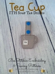 Tea Cup ITH Snap Tab - 4x4 Embroidery Design